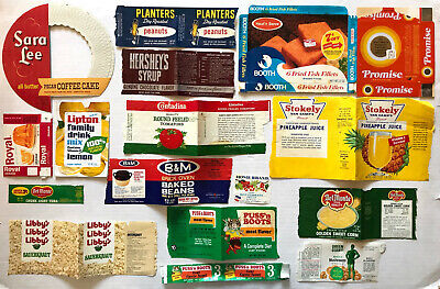 31 VINTAGE Early 1970's FOOD/CAN/PACKAGE/GROCERY STORE LABELS Planters Peanuts