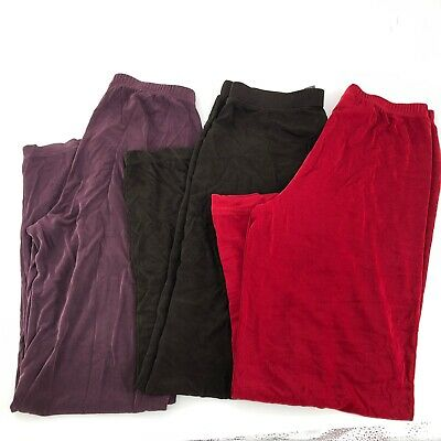 Lot of 3 Chicos Travelers Womens Pants Sz  1 Med Red Purple Brown Pull On