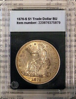 1876-S Silver $1 Trade Dollar Rare Brilliant Uncirculated + Bonus