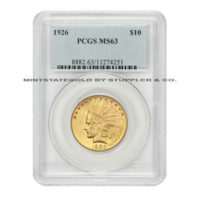 1926 $10 Indian PCGS MS63 Choice Graded Gold Eagle Philadelphia Ten Dollar Coin