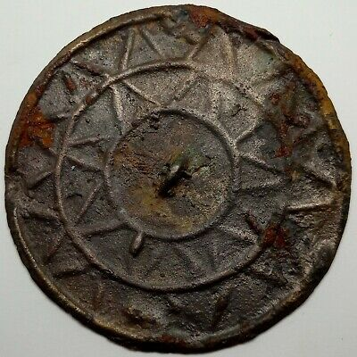 Bronze Mirror Pendant / Solar sign / Sun / Coin 77mm. Viking 500-700AD. Rare