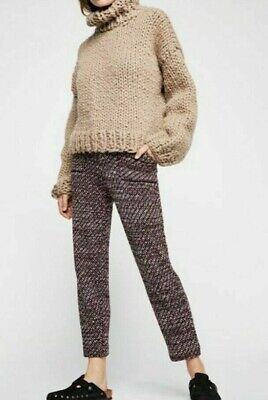 Free People Cozy Knit Trousers Deep Red Combo Pants Sz Large/$148 NWT OB902419