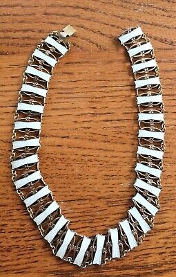 """Necklace Norwegian White Enamel 830 S Sterling by Ivar T. Holth 15.25"""" Beautiful"""