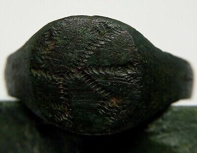 Bronze Ring Seal Stamp Ornament Tree of life / Solar sign 800-1200AD Viking Rus