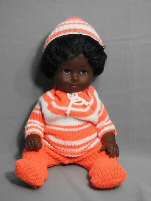 """Vintage Like New Black Baby Doll Germany  Gotz 14""""Tall Sleep Eyes Knitted Outfit"""