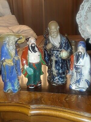 Lot Of 4 Chinese Mud Men Porcelain Ceramic Figurines Statues Hand Painted Robes