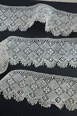 vintage 3.25 metre length x 4cm wide hand crafted BOBBIN LACE Trim edging