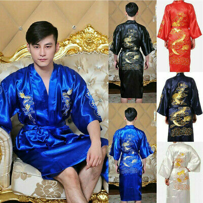 Chinese Retro Neutra Robe Silk Satin Dragon Embroidery Bathrobe Gown Kimono Robe