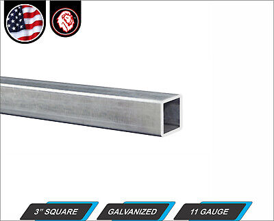 "3"" Galvanized Square Steel Tube - 11 gauge - 24"" inch long (2-ft)"