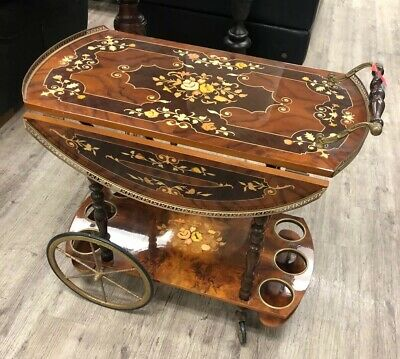 Vintage Floral Marquetry Inlay Drop Leaf Trolly Bar Cart Made In Italy Antique