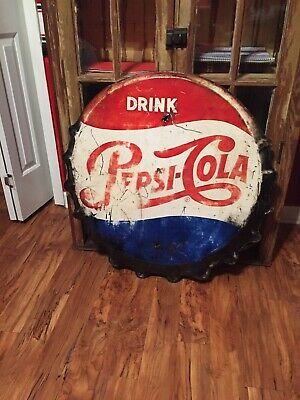 Vintage Original Pepsi Cola Bottle Cap Sign