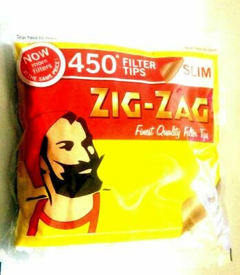2 x ZIG ZAG Resealable Large Bag of 450 SLIM Cigarette Filter Tips = 900 tips