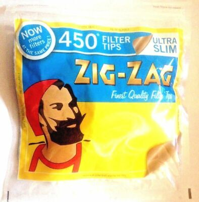 2 x ZIG ZAG Resealable Bag of 450 ULTRA SLIM Quality Cigarette Filter Tips