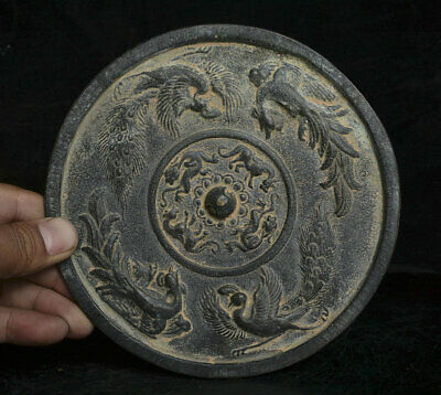 """6.2"""" Old Ancient Chinese Bronze Dynasty Phoenix Peacock Beast Bronze Mirror"""