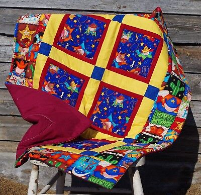 Handmade Patchwork Blue Rodeo Western Cowboy Baby Quilt Cotton Blanket Unique