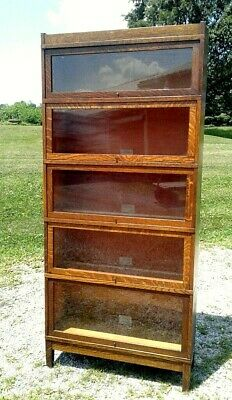 Antique Barrister Bookcase 5 Stack Globe Wernicke 1930 Era Arts and Crafts