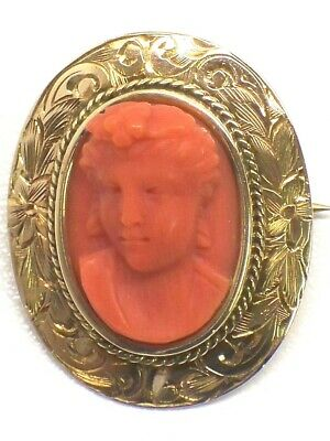 Antique Victorian 10KT Rose Gold Frame Hand Carved Red Coral Cameo Pin/Brooch