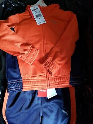 Puma Toddlers boy 2 piece Set Track Suit 2T Orange/Navy New