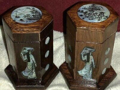 Unusual Wooden Boxes Panelled Faceted Form With Figural Mother of Pearl Detail