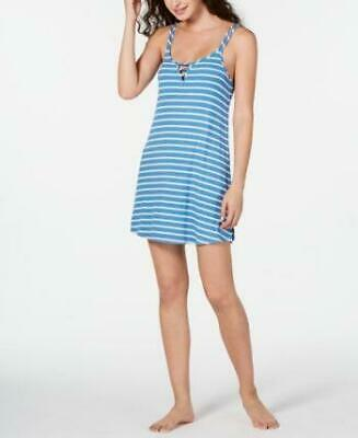 Jenni Women's Blue Striped Ladder Front Chemise Nightgown Size XS MSRP $24