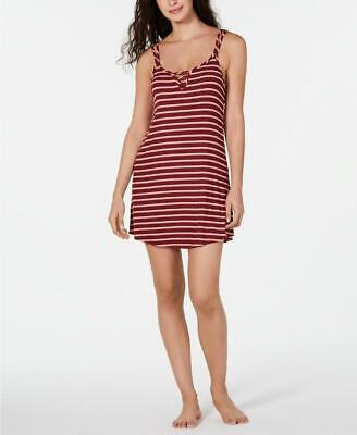 Jenni Women's Plum Wine Striped Ladder Front Chemise Nightgown Size XS MSRP $24