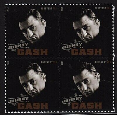 Johnny Cash Scott #4789 Block of 4 Stamps MNH - Catalog $4