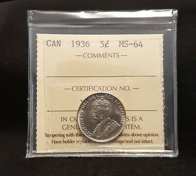 1936 Canada 5 Cent  Iccs Ms-64    *Free Shipping *.