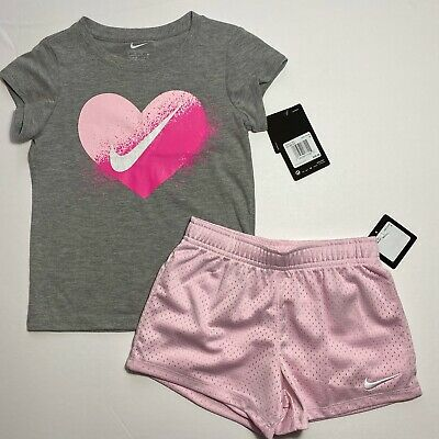 Nike Girls Shorts & Tee Shirt Set Outfit Sz 5 6 NEW #6