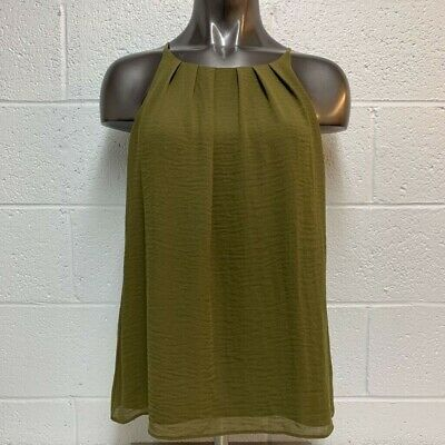 Vince Camuto Womens Blouse Shell Green Sleeveless Keyhole Pleated Lined S New