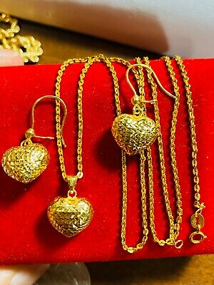 18k Saudi Gold Women S Heart Necklace With 16 Chain Usa Seller 351 00 Picclick