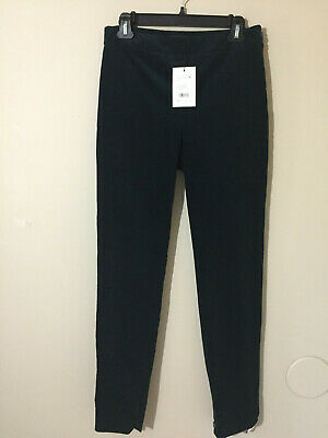 Theory Womens Leggins Green Corduroy High Waist Slim Zipped Ankle Pants Sz 6 NWT