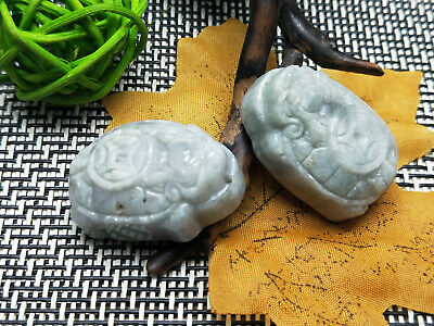 2PC Delicate Chinese natural Hand-carved Jadeite jade pendant Dragon turtle 2