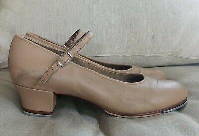 Bloch Tan Leather Heeled Tap Shoes Size 10 Womens Dancing 4.5CM Heel