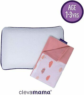 Clevamama Clevafoam Toddler Pillow with Replacement Pillow Case (Coral)