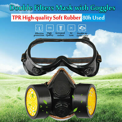 Full Face Gas Mask Goggles Respirator Paint Chemical Mask Dust Proof Fire Escape