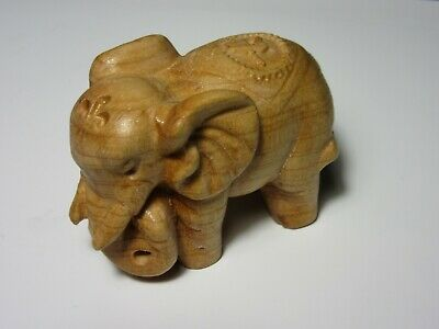 Hand Crafted Lucky ELEPHANT Natural Carved Figurine Wood Animal Decor
