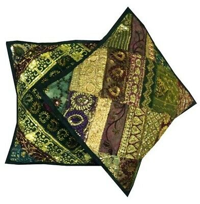"16""-2 Green Stunning Sari Sequin Beaded Accent Floor Toss Cushion Pillows Covers"