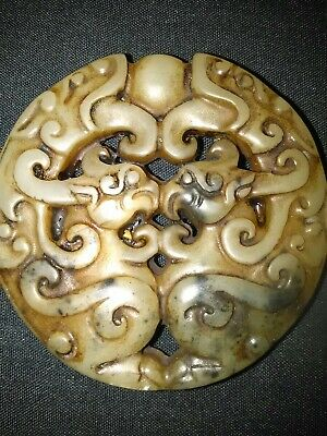 Collectable Chinese Hand Carved Jade Stone Mythical Creature Figure Ornament