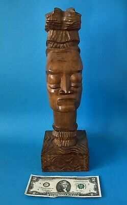 ⭐️Vintage Large Wooden Hand Carved African Woman Female Head Bust Tribal Art