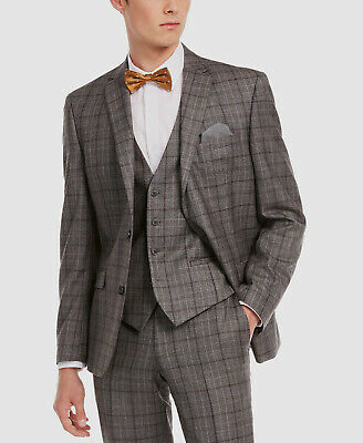 $525 Bar III 38S Men's Gray Brown Slim Fit Plaid Wool Suit Coat Blazer Jacket