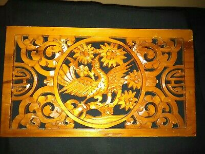 Vintage Antique Chinese Hand Carved Phoenix Bird Plaque Wall Art Hanging