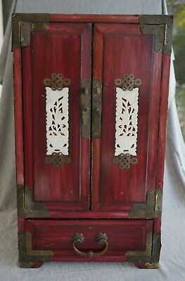 Chinese JEWELRY CHEST - Wood / Brass / White Nephrite Jade Insets - LARGE 18""