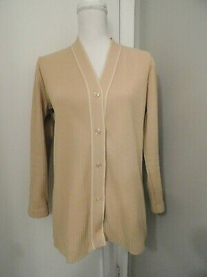 Vintage Women's Sz L/XL Light Brown White Stitching Ribbed Polyester LS Cardigan
