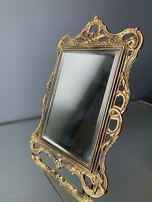 miroir doré ancien 1900 bronze petit modele old french table mirror louis XVI