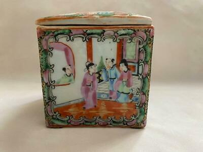 19th C Rose Medallion Chinese Porcelain Box with Lid