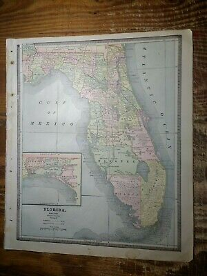 1885 Map of Florida - Map of Alabama On Reverse - Railroads Shown