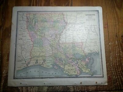 1885 Map of Louisiana - Map Of Mississippi On Reverse - Railroads Shown