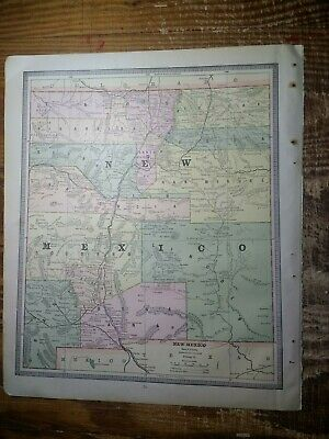 1885 New Mexico Territory Map - Map of Colorado On Reverse - Railroads Shown