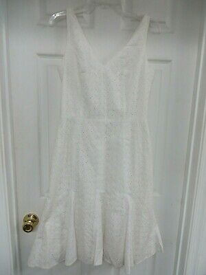 WHITE HOUSE BLACK MARKET Dress 8 Sleeveless Eyelet  Trumpet Flare White  NWT