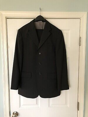 Perry Ellis Mens Two Piece Suit Size Regular 40 Black With Pinstripes